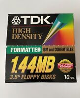 "BOX OF 10 TDK HIGH DENSITY 3.5"" 1.44 MB FLOPPY DISK FORMATTED UNUSED"