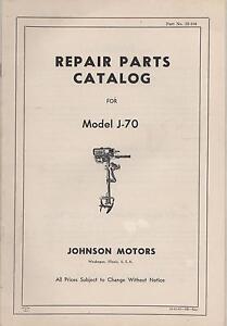 VINTAGE JOHNSON OUTBOARD MOTOR MODEL J-70 PARTS MANUAL P/N 12-104