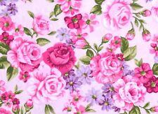 Frühlings Rosenstoffe Stoff Pink Rose auf Rosa Blumen Blätter Blüten Baumwolle