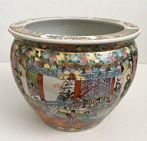 Vintage Chinese Famille Rose Porcelain Jardiniere Koi Fish Planter
