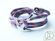 Stainless Steel Silver Anchor Bracelet Purple Paracord Wrap Around Adjustable