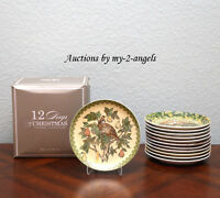 SET/12 Pottery Barn TWELVE DAYS OF CHRISTMAS Salad / Dessert Plates NEW IN BOX!