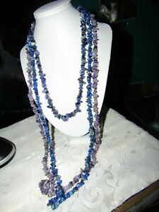 "Gorgeous Lapis Gemstone Necklaces 20"" & 34"" and Amethyst Necklace 34"""