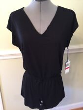 NWT Size XS/S ISABELLA ROSE SWIMSUIT Cover-Up Solid Black Waisted Rayon/Spdx $80