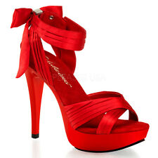 Red Satin Platform Heels Salsa Ballroom Dance Drag Queen Womans Large Size Shoes