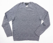 NEW BLOOMINGDALES GRAY NAVY NEPTWEED 100% CASHMERE KNIT CREWNECK SWEATER SIZE L