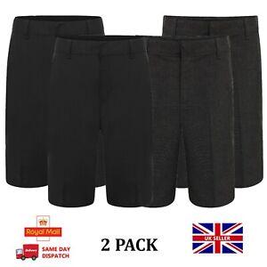 Boys School Shorts Grey or Black 2 PACK School Wear School Uniform