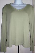 Cambridge Dry Goods green long sleeve top large shirt tee 100%  cotton V-neck