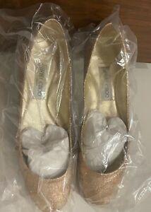 Jimmy Choo Ballet Flats in Glitter Fabric Sand in Box - size 38 1/2 - $100