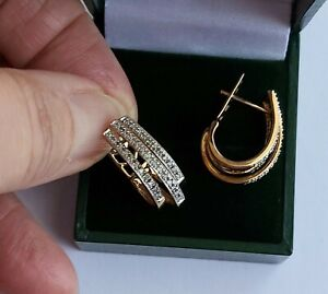 A Pair Of Large Half Hoop Diamond Earrings In 9ct Rose Gold