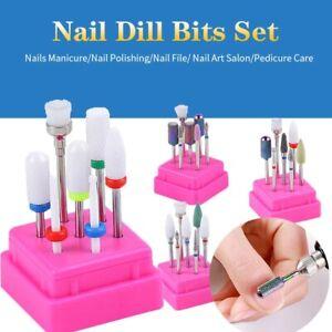 7PCS/Set Nail Drill Bits Ceramic Head Nail Cuticle Polishing Manicure Tools UK