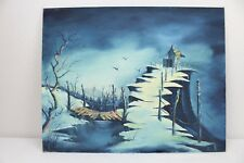 """House on Cliff and Bridge Acrylic Painting 20x16"""" Mountains Blue Birds"""