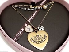 Juicy Couture Love Juicy Charm Necklace Multi Tone Layered New in Box!