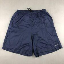 Nike Nylon Swim Trunks Swoosh Navy Blue Shorts -  Mens Medium