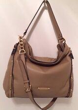 Michael Kors Leigh Dark Khaki Tan Brown Leather Hobo Handbag NWT