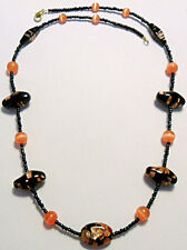 "Black/copper + orange colour glass beads 21"" necklace"