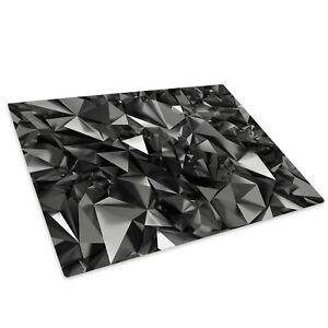 Grey Black Geometric Glass Chopping Board Kitchen Worktop Saver