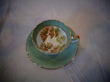 AYNSLEY SCALLOPED CUP SAUCER SET GREEN OAK LEAVES GOLD TRIM