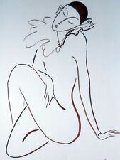 "Drawing ORIGINAL Dark brown gouache 18""x12"" Pierrot contemporary Art minimalism"