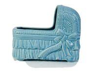 Vintage Pottery Blue Baby Bed Bassinet Cradle Planter Gift Clean No Chips
