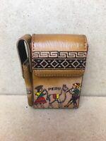 Peruvian Peru Llama Cigarette Case Holder Leather Vintage Souvenir Handmade Vtg