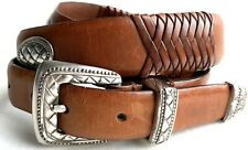 Men's Western Brown Leather Wrapped Concho Belt Size 40 Aztec theme Buckle & Tip