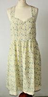 Joe Browns Cream Blue Floral Sun Dress Prairie Boho Festival Peasant Pockets 16