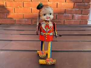 FUKUDA Japan Tin Litho Toy Boy With Gun - Nice Vintage Original Item Rare