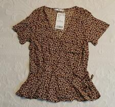 Mango Women's Short Sleeve Floral Wrap Top SV3 Brown Size US:2 NWT