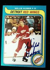 1979-80 TOPPS SIGNED CARD WILLIE HUBER DETROIT RED WINGS RANGERS GERMANY # 17