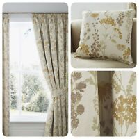 Curtina - BERRINGTON Ochre - Floral Pencil Pleat Curtain / Cushions Collection