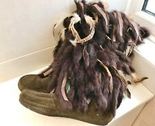 Vintage Mukluk boots feather & Fur UK 40 Brown Suede