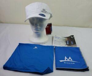 MISSION ENDURACOOL WHITE CAP/HAT + BLUE TOWEL NEW / GAITER 3-piece SET NWT