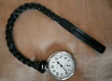 Fob, Chain. Soft leather (black) Custom Length, Leather Pocket Watch Strap,