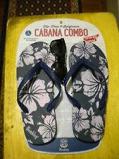 Wembley Cabana Combo Flip Flops & Sun Glasses Summer Flower Hibiscus L 11/12 US