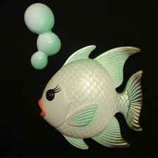 Vintage Chalkware Fish w Bubbles Wall Plaque for Mermaid Bath Decor
