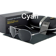 HDCRAFTER Fashion Unisex Polarized Aviator Driving Sunglasses - CYAN LENS