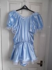 ADULT BABYS~MAIDS~SISSY~UNISEX GORGEOUS SATIN & LACE POPPERED ROMPER WITH SKIRT