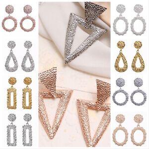 Geometric Dangle Drop Stud Big Earrings Metal Statement Gold,RoseGold,Silver UK