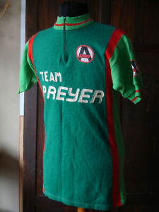 Vintage 1970s ARBO Team Prayer Knitted Cycling Jersey Top Shirt Embroidered Wool
