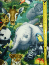 Jungle animal fleece fabric NEW sweet baby nursery sewing comfy soft animals