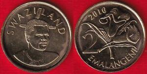 """Swaziland (Eswatini) 2 emalangeni 2010 """"Mswati III"""" UNC"""