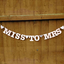 1PC Rustic Hessian Burlap MISS TO MRS Bunting Banner for Wedding Party Shower