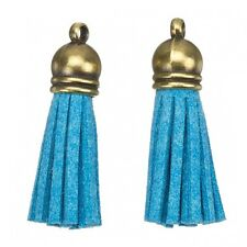Suede Tassel Charms with Bronze Cap for Jewellery Making Light Blue 36mm (H20/3)