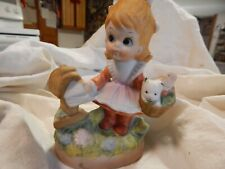 porcelain Girl at mailbox with kitten in basket/hand painted pastels