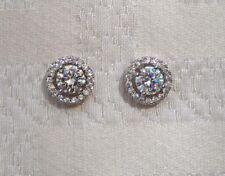 Silver Cubic Zirconia Bridal Circle Stud Earrings Wedding Jewellery