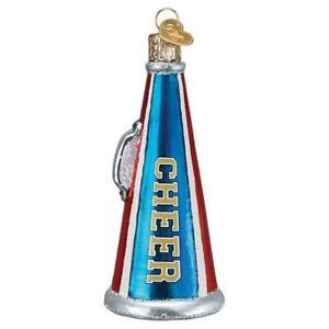 Old World Christmas CHEER MEGAPHONE (44149)N Glass Ornament w/ OWC Box