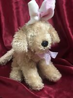 "Dan Dee 8"" plush stuffed Brown Puppy Dog with White/Pink Bunny Rabbit Ears"
