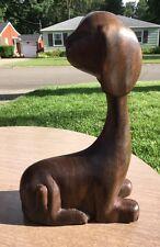 Mid Century Danish Modern Wood Teak Dog Statue