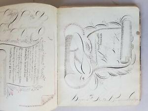 Antique 19thC Autograph Friendship Album w/ Spencerian Calligraphy Manuscript